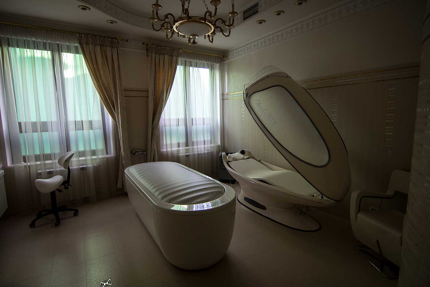 A tanning bed in the wellness complex. Mezhyhirya, Ukraine.