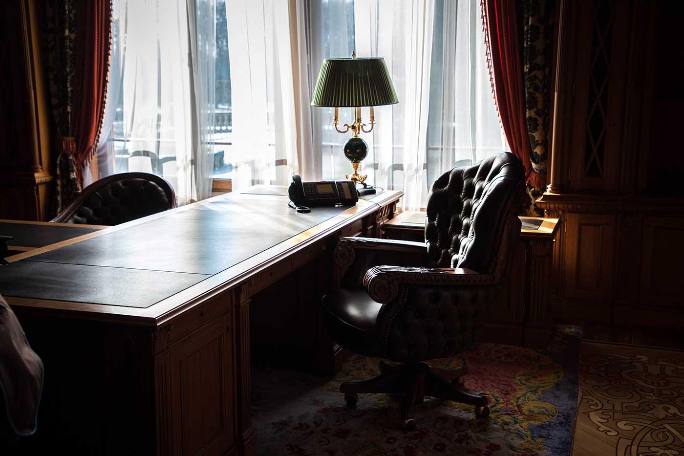 Desk in Yanukovych's study at Mezhyhirya.
