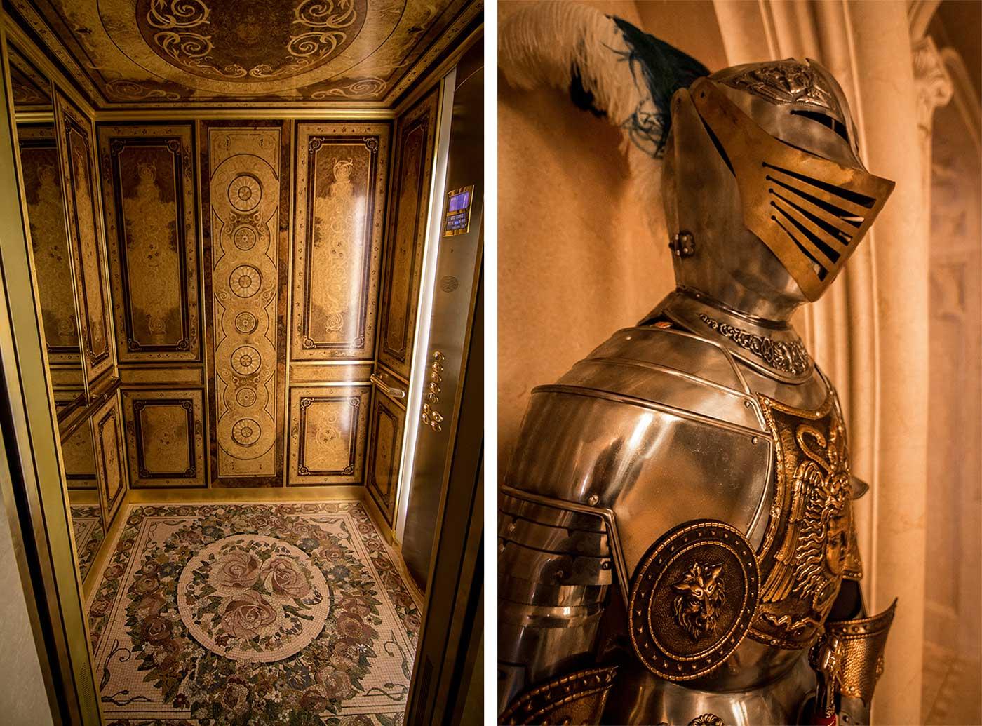 The jewel-encrusted, mosaic-floored elevator inside the Honka house. Mezhyhirya, Ukraine.