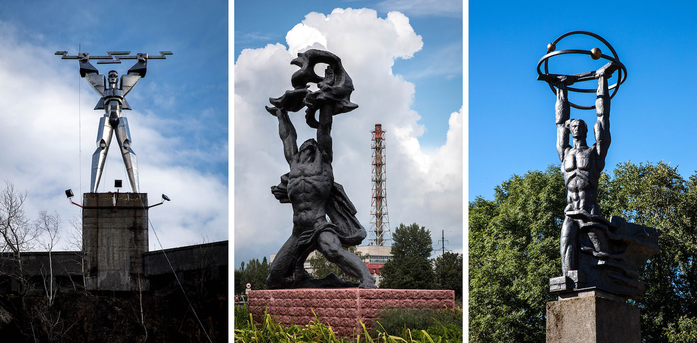 Monuments to Prometheus at Vidraru Hydroelectric Dam in Romania; at Chernobyl NPP in Ukraine; and in Sillamäe, Estonia.