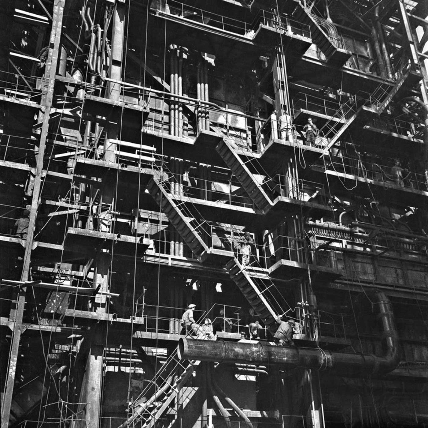 Archive photograph from the construction of Elektrėnai Power Plant.