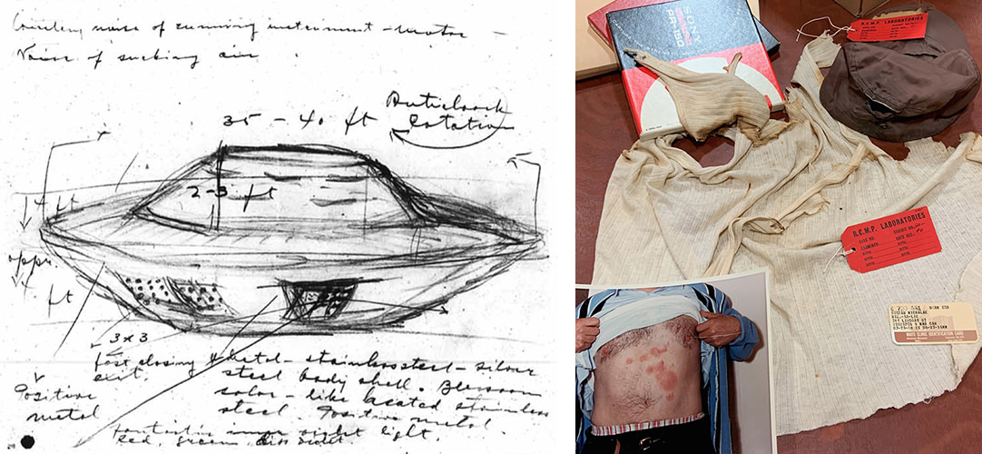 Left: Stefan Michalak's sketch of the UFO he encountered near Falcon Lake in 1967. Right: Michalak's burnt clothing, and an inset showing the unexplained burns he received across his body, after getting too close to the craft's exhaust.