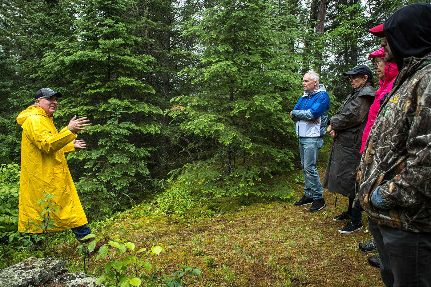 Chris Rutkowski, the preeminent ufologist in Canada and an expert on the Falcon Lake Incident, giving a tour of the landing site in Whiteshell Forest.