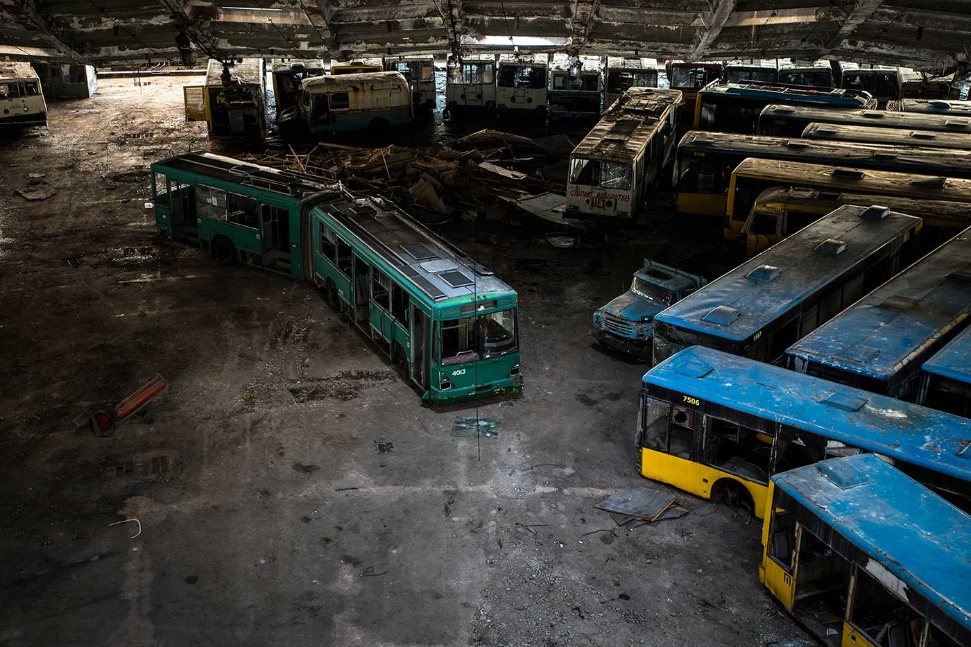 Meanwhile, more vehicles are added to the collection after any accidents and collisions on the roads of Kyiv. Autobus Park №7: the abandoned bus depot in Kyiv, Ukraine.