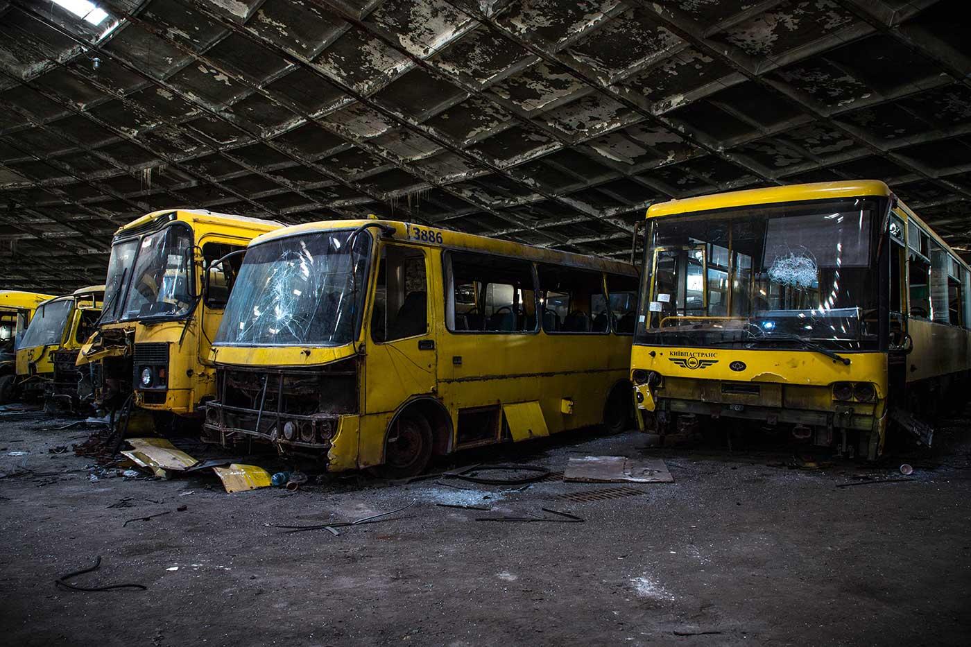 Autobus Park №7: the abandoned bus depot in Kyiv, Ukraine.