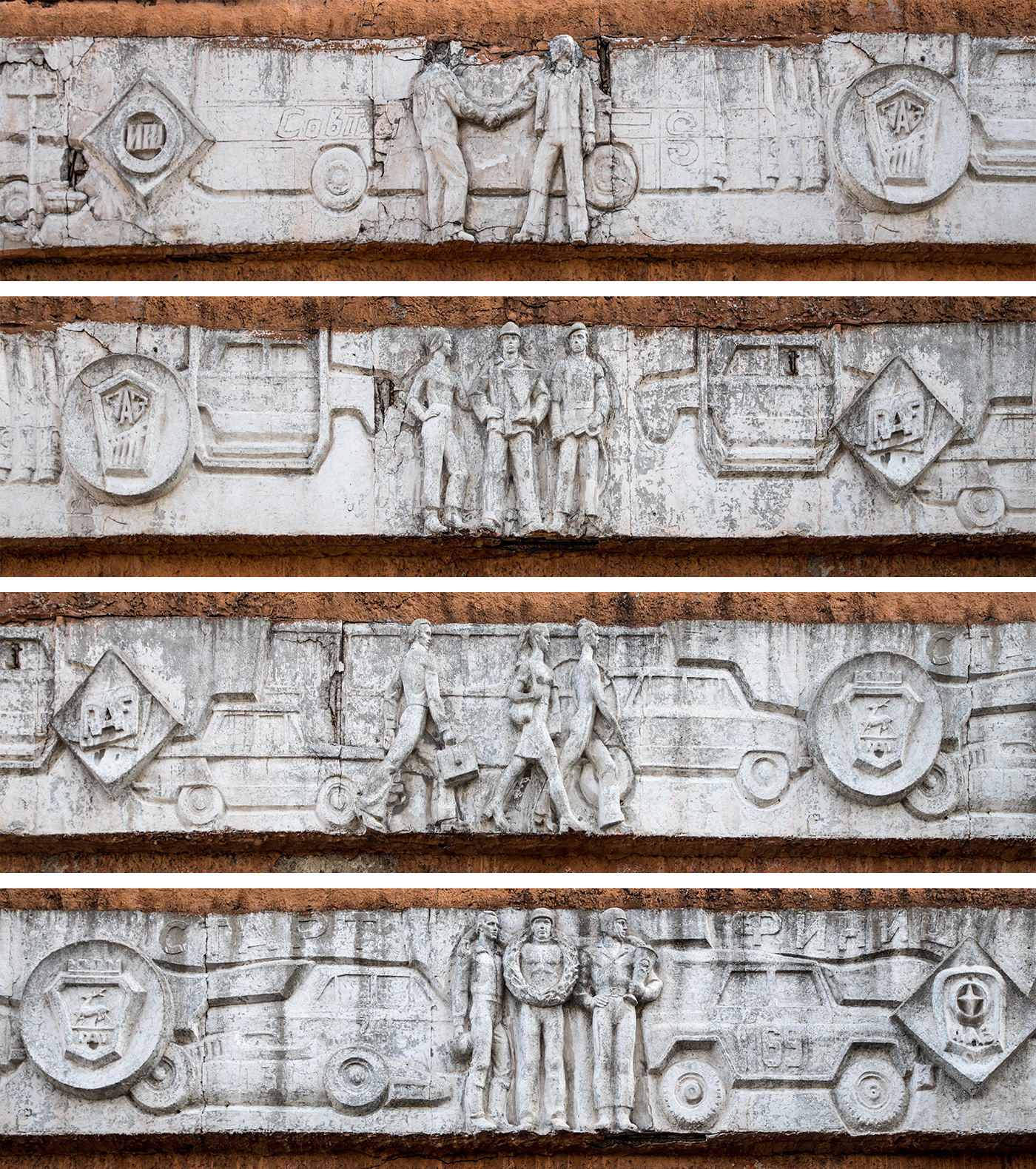 Details of the sculpted relief – showing staff, passengers, vehicles, and the logos of various automotive brands. Autobus Park №7: the abandoned bus depot in Kyiv, Ukraine.