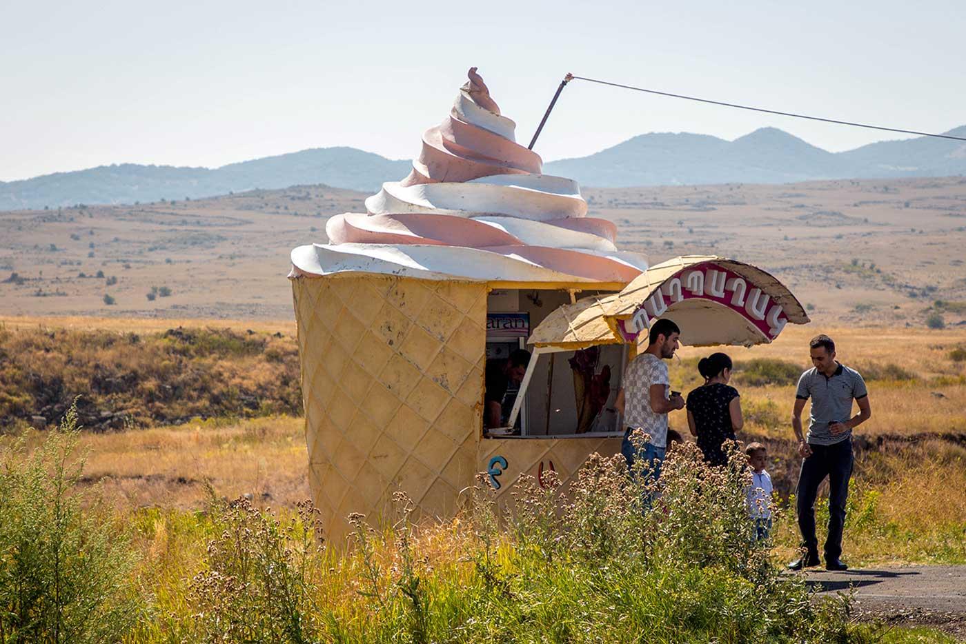 Ice creams in Artashavan, a village on the Western side of Mount Aragats.